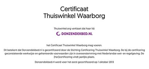 Thuiswinkel waarborg certificaat Donzendekbed.nl