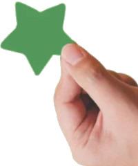 Een hand met een ster voor tevredenheid