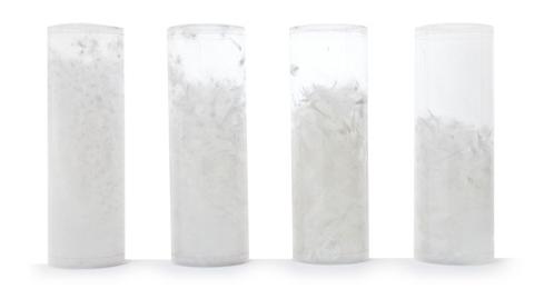 Vulkracht van dons zichtbaar gemaakt in cylinders