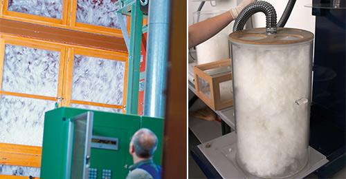 Het dons wordt gewassen. Daarna wordt de vulkracht gemeten in een cylinder
